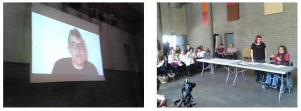 Izq.: Urko presentando la PornOrtopedia de Post-Op | Der. Nuria y Silvia presentando un adaptador de bolígrafo Fotos tomadas el 7 de junio durante la #primaveracacharrera por En torno a la silla CC BY