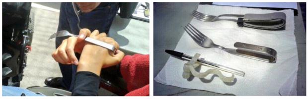 """""""Nuria Gomez enseña el funcionamiento de sus cubiertos adaptados"""" Fotos twitteadas por @okokitsme el 7 de junio durante la #primaveracacharrera, cedida a En torno a la silla CC BY"""