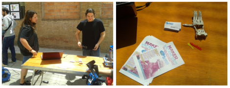 """""""Néstor y Dani de MakerConvent enseñan la mano protésica y la impresión 3D en la feria de objetos"""" Fotos tomadas el 7 de junio durante la #primaveracacharrera por En torno a la silla CC BY"""